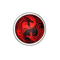 Yin Yang Dragons Red and Black Golf Ball Marker (for Hat Clip)