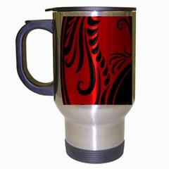 Yin Yang Dragons Red and Black Travel Mug (Silver Gray)