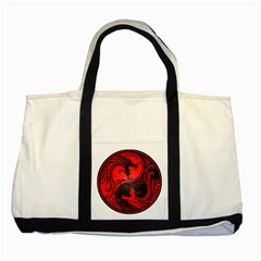 Yin Yang Dragons Red And Black Two Toned Tote Bag