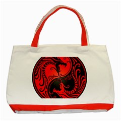 Yin Yang Dragons Red and Black Classic Tote Bag (Red)