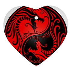 Yin Yang Dragons Red and Black Heart Ornament (Two Sides)