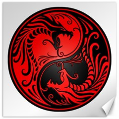 Yin Yang Dragons Red and Black Canvas 20  x 20  (Unframed)