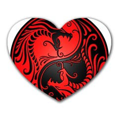 Yin Yang Dragons Red And Black Mouse Pad (heart)