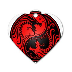 Yin Yang Dragons Red And Black Dog Tag Heart (two Sided)