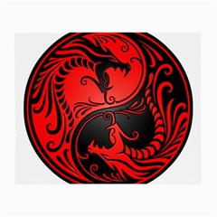 Yin Yang Dragons Red and Black Glasses Cloth (Small, Two Sided)