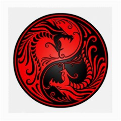 Yin Yang Dragons Red and Black Glasses Cloth (Medium, Two Sided)