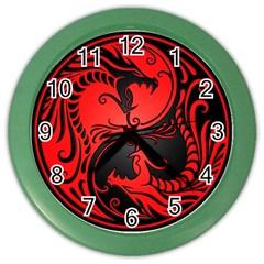 Yin Yang Dragons Red And Black Wall Clock (color)