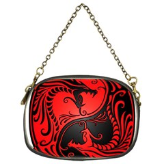 Yin Yang Dragons Red And Black Chain Purse (one Side)