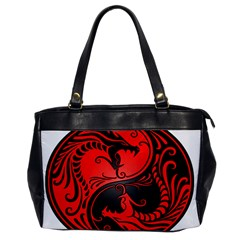 Yin Yang Dragons Red And Black Oversize Office Handbag (one Side)
