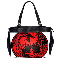 Yin Yang Dragons Red And Black Oversize Office Handbag (two Sides)