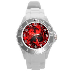 Yin Yang Dragons Red And Black Plastic Sport Watch (large)