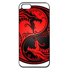 Yin Yang Dragons Red And Black Apple Iphone 5 Seamless Case (black)