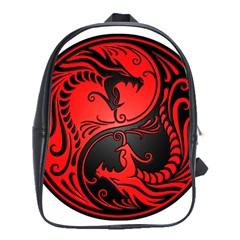 Yin Yang Dragons Red And Black School Bag (xl)