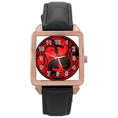 Yin Yang Dragons Red and Black Rose Gold Leather Watch