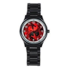 Yin Yang Dragons Red And Black Sport Metal Watch (black)