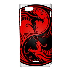 Yin Yang Dragons Red and Black Sony Xperia J Hardshell Case