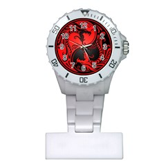 Yin Yang Dragons Red and Black Nurses Watch