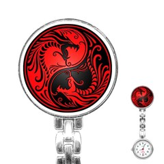 Yin Yang Dragons Red and Black Stainless Steel Nurses Watch