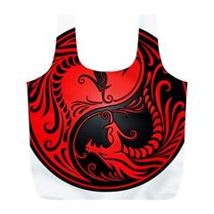 Yin Yang Dragons Red And Black Reusable Bag (l)