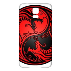 Yin Yang Dragons Red and Black Samsung Galaxy S5 Back Case (White)
