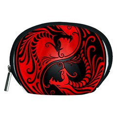 Yin Yang Dragons Red And Black Accessory Pouch (medium)