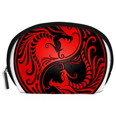 Yin Yang Dragons Red and Black Accessory Pouch (Large)