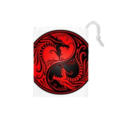 Yin Yang Dragons Red And Black Drawstring Pouch (small)