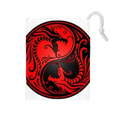 Yin Yang Dragons Red and Black Drawstring Pouch (Large)