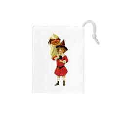Vintage Halloween Girl  Drawstring Pouch (Small)