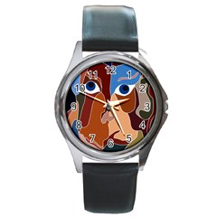 Abstract God Round Leather Watch (silver Rim)