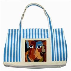 Abstract God Blue Striped Tote Bag