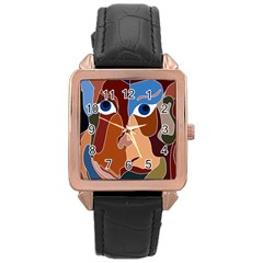 Abstract God Rose Gold Leather Watch