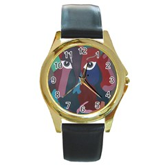 Abstract God Pastel Round Leather Watch (gold Rim)