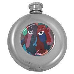 Abstract God Pastel Hip Flask (round)
