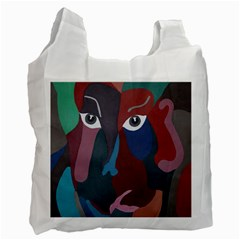 Abstract God Pastel White Reusable Bag (one Side)