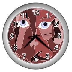 Abstract God Lilac Wall Clock (silver)