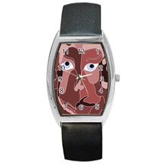 Abstract God Lilac Tonneau Leather Watch