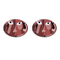 Abstract God Lilac Cufflinks (oval)