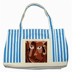 Abstract God Lilac Blue Striped Tote Bag