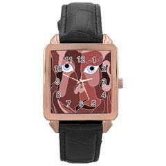 Abstract God Lilac Rose Gold Leather Watch