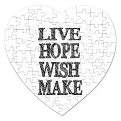 Live Hope Wish Make Jigsaw Puzzle (heart)