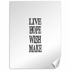 Live Hope Wish Make Canvas 36  x 48  (Unframed)