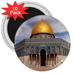 The Dome Of The Rock  3  Button Magnet (10 Pack)