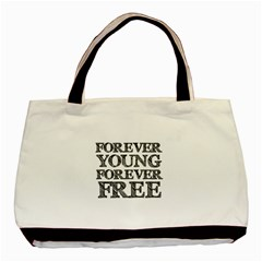 Forever Young Twin-sided Black Tote Bag