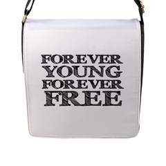 Forever Young Flap Closure Messenger Bag (large)