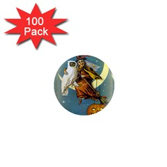 Vintage Halloween Witch 1  Mini Button Magnet (100 pack)