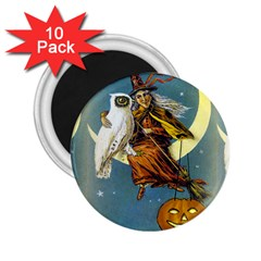 Vintage Halloween Witch 2.25  Button Magnet (10 pack)