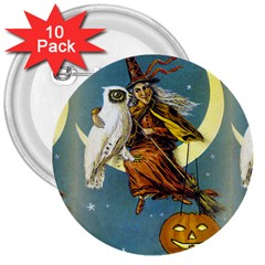 Vintage Halloween Witch 3  Button (10 pack)