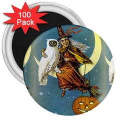 Vintage Halloween Witch 3  Button Magnet (100 pack)