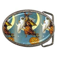 Vintage Halloween Witch Belt Buckle (Oval)